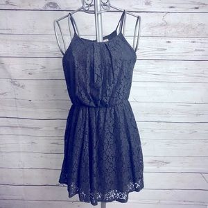 Peach Royal Black Lace Dress